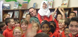 Author Ken Spillman with Children